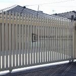 SG11 - White Steel Pickets Sliding Gates