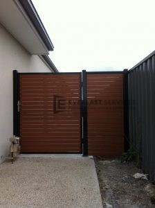 SS15 - Black Post + Frame with WRC Slats Single Gate with Side Panel