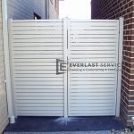 DW18 - Pearl White Aluminium Slats Single Gate with panel