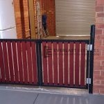 SWG17 - Black Frame + Jarrah Slats Double Gate - Werribee