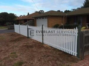 SF15 - White Sloped Picket Steel Fencing