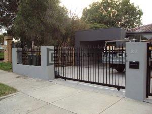 SG21 - Black Level Spear Steel Sliding Gate - Melbourne