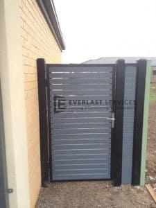SS21 - Black Post + Frame with Woodland Grey Slats Single Gate