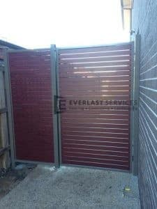 SS22 - Woodland Grey Post + Frame with Jarrah Slats Single Gate