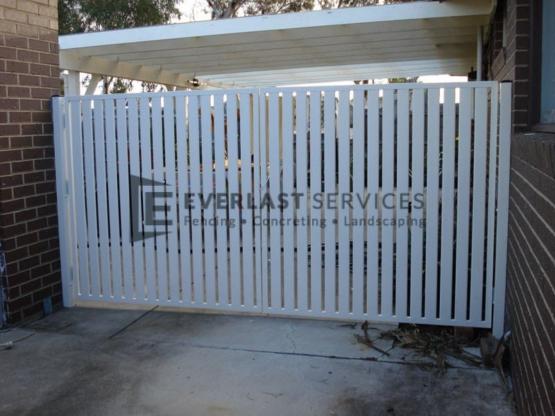 DG10 - Pearl White Vertical Slats Double Gate - Werribee
