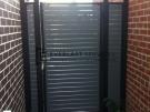 SS24 – Black Post + Frame with Woodland Grey Slats Single Gate + 2 Side Panels