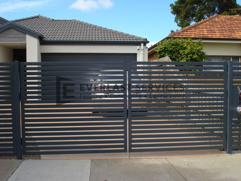 Dg12 Horizontal Bluestone Slats Double Gate Werribee