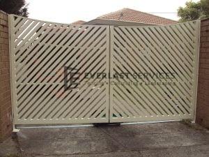 DG13 - Diagonal Steel Slats Double Gate - Werribee