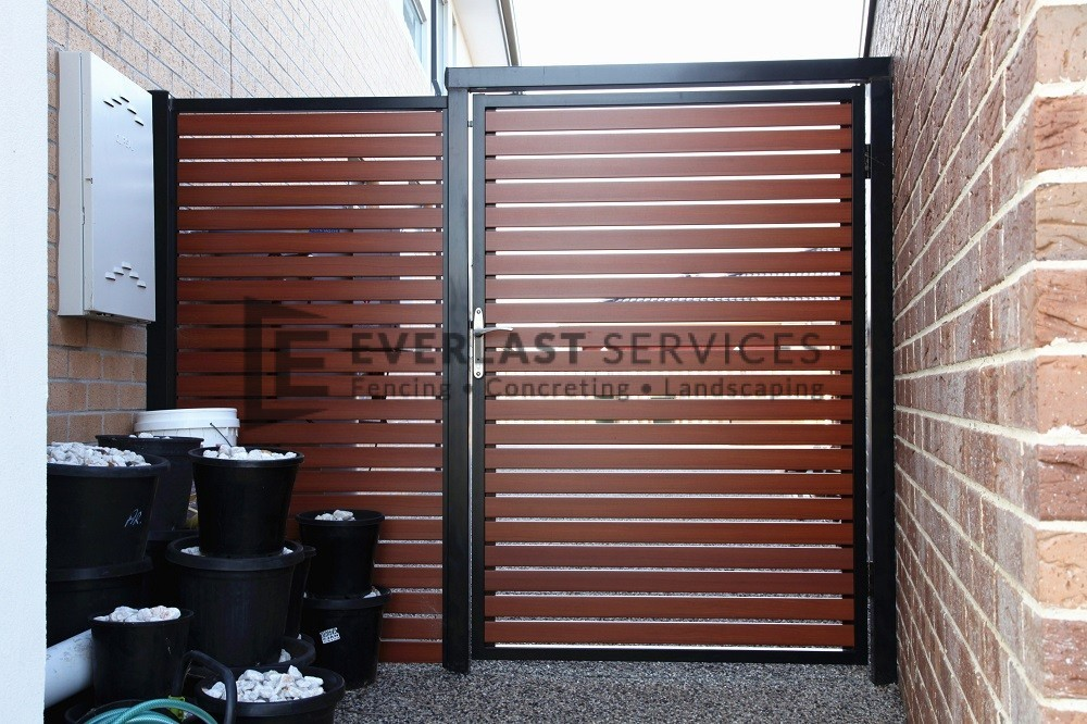 Ss29 Black Post Frame With Wrc Slats Single Gate & Door Slats - Sanfranciscolife