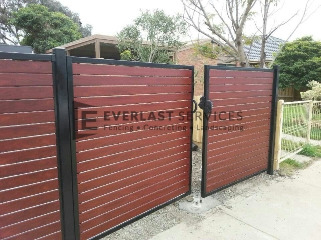 DG3 - Black Post + Frame + Jarrah Slats Double Gate - Altona
