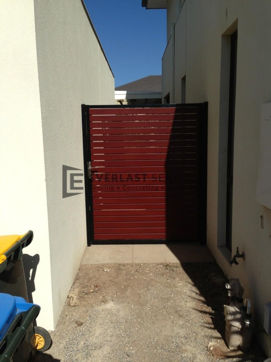 SS33 - Black Post + Frame with Jarrah Slats Single Gate - Altona Meadows