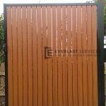 SS34 - Wood look vertical aluminium slats single gate - Hoppers crossing