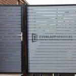SS39 - Black Post + Frame with Woodland Grey Aluminium Slats Single Gate with Panel - Laverton