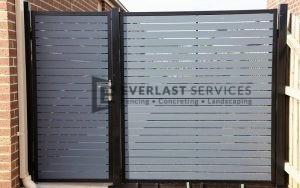 SS39 - Black Post + Frame with Woodland Grey Aluminium Slats Single Gate with Panel - Laverton