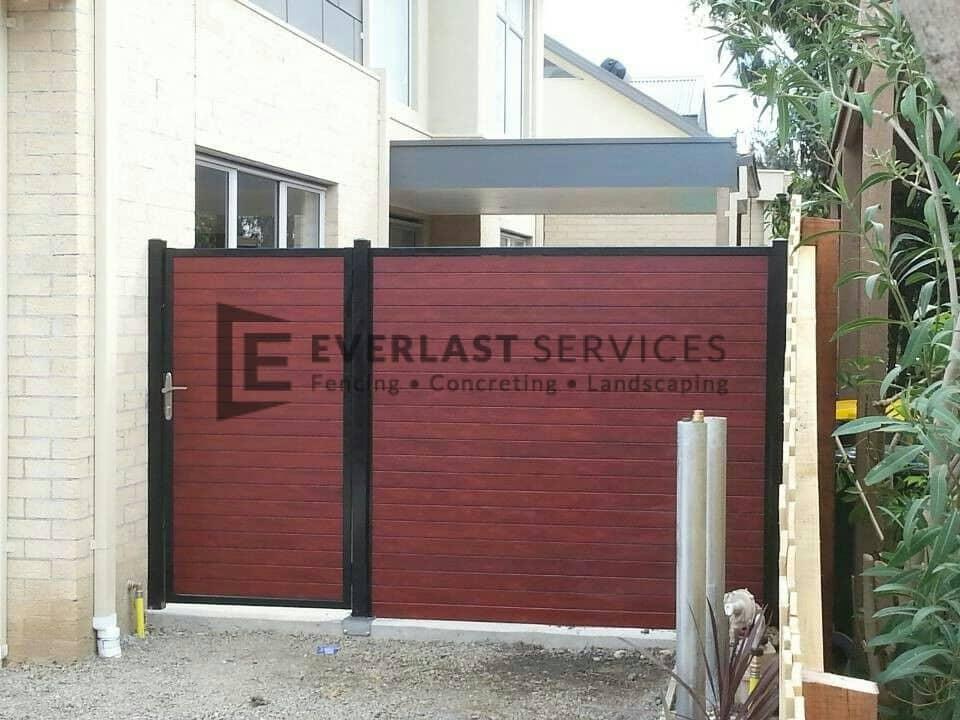 SS7 - Black Post + Frame with Jarrah Slats no Gap Single Gate with Panel