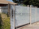 A66 – Beige Post + Frame with Surfmist Horizontal Slats Sliding Gate