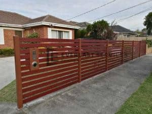 A165 - Manor Red Aluminium Slats Fencing with 90mm Jarrah Slats 2