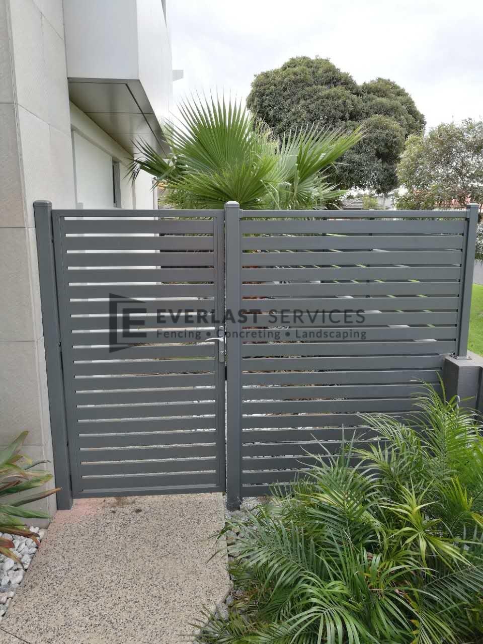 SS103 - Aluminium Slats Single Gate + Panel