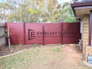 SS71 - Aluminium Slats Single Gate with 3 x Fence Panels (Indian Red Post and Frame with Jarrah Slats)