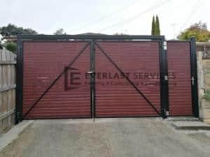 DG61 - Jarrah Slats Double Driveway Gate Plus Single Entry Gate