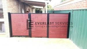 SS112 - Jarrah Slats Single Gate with 2 x Panels