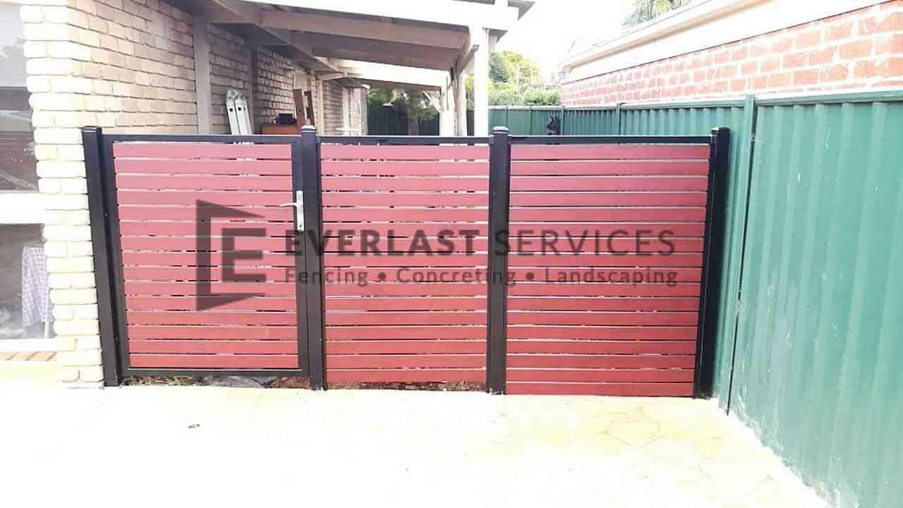 SS112 - Jarrah Slats Single Gate with 2 x Panels