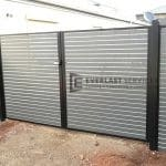 A120 - Black Frame with Woodland Grey Slats Double Gate 2