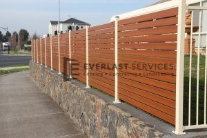 A46 - Western Red Cedar Horizontal Slats Above Retaining Wall - Hoppers Crossing