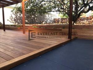T63 - Blackbutt Decking + Colour Concrete + Raised Garden Box