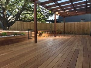 L66 - Blackbutt Decking + Laminated Merbau Post Verandah