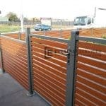A52 - Grey steel and wood like aluminium slats fence