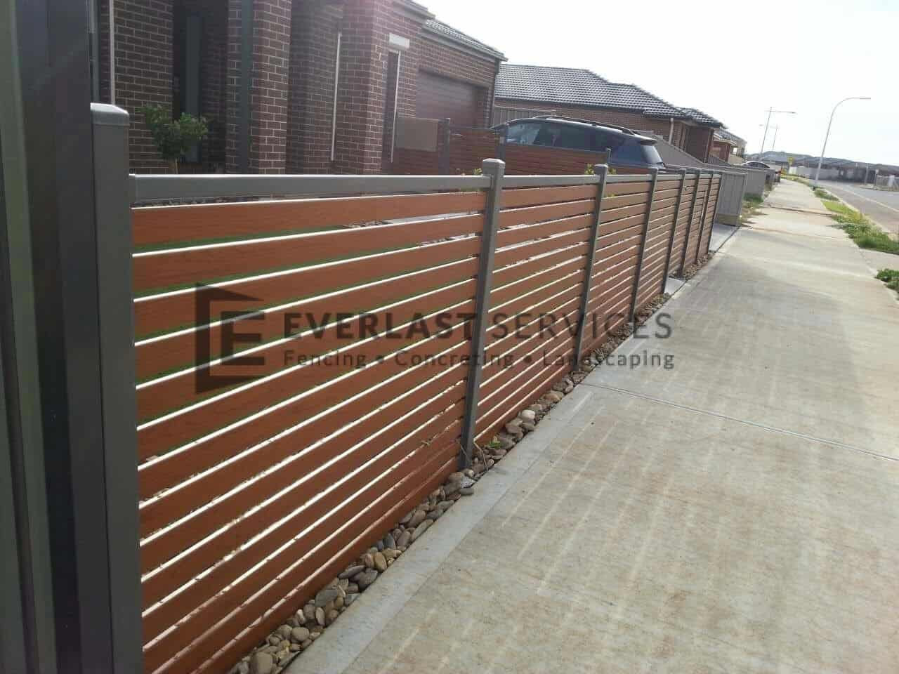 Aluminium fencing melbourne metal slat fence quotes for Wood screen fence