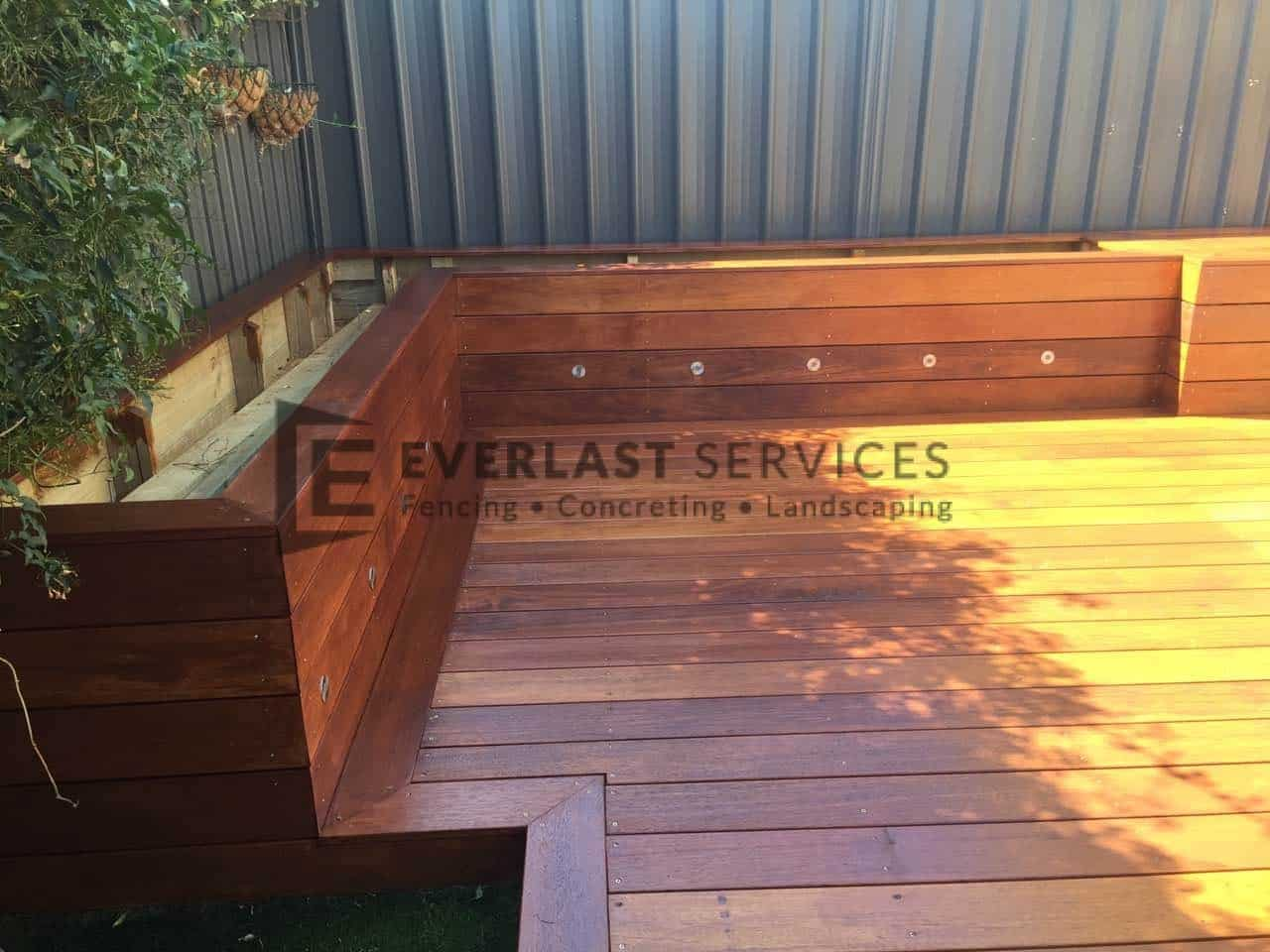 Timber decking melbourne merbau composite outdoor deck for Garden decking designs pictures