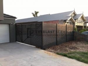 DG37 - Aluminium Slats Double Gate with Side Fencing