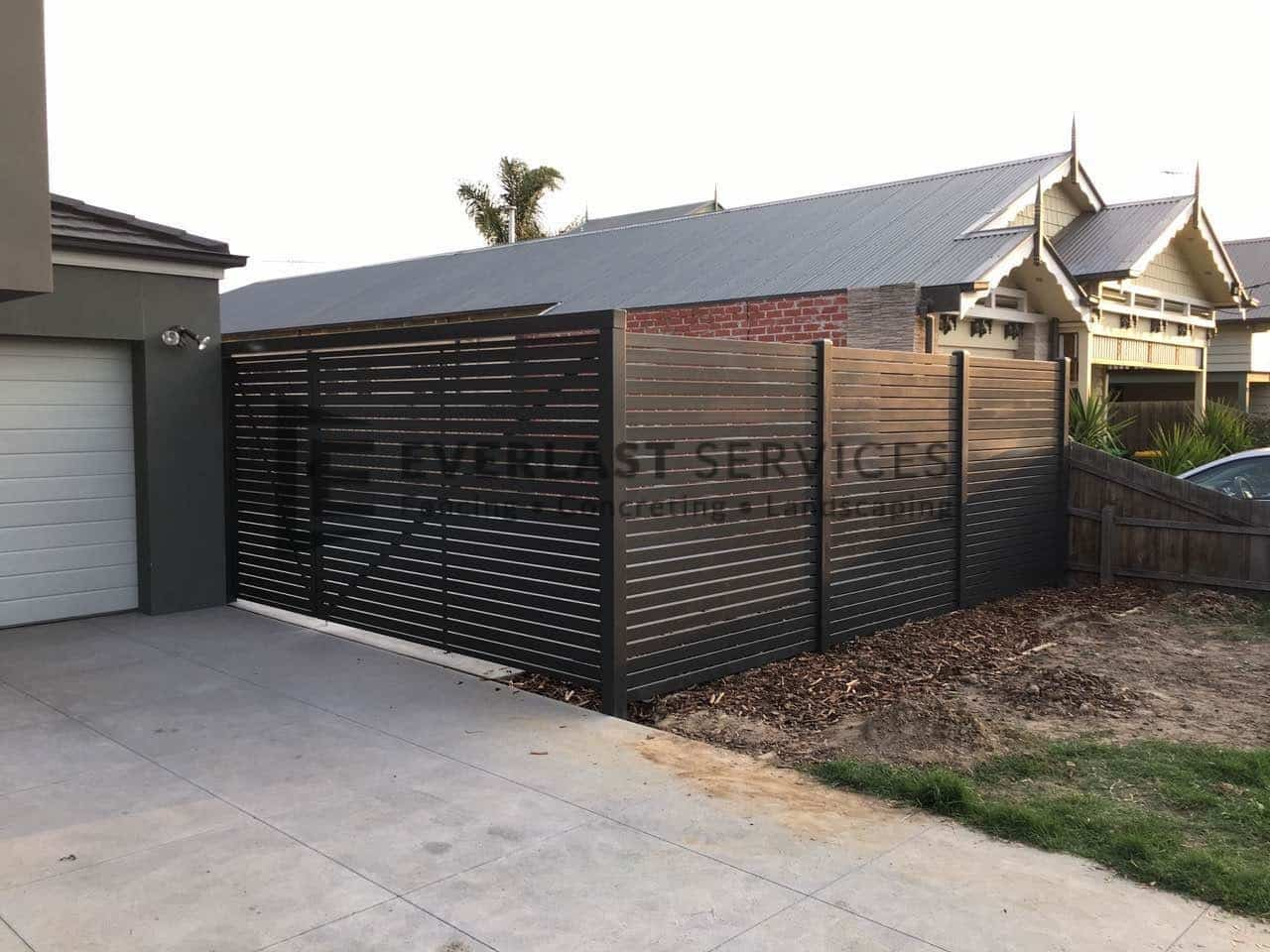 DG37 - Aluminium Slats Double Gate with Side Fencing
