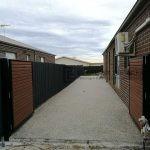 DG44 - Slats Double Gate + Exposed Aggregate Concrete
