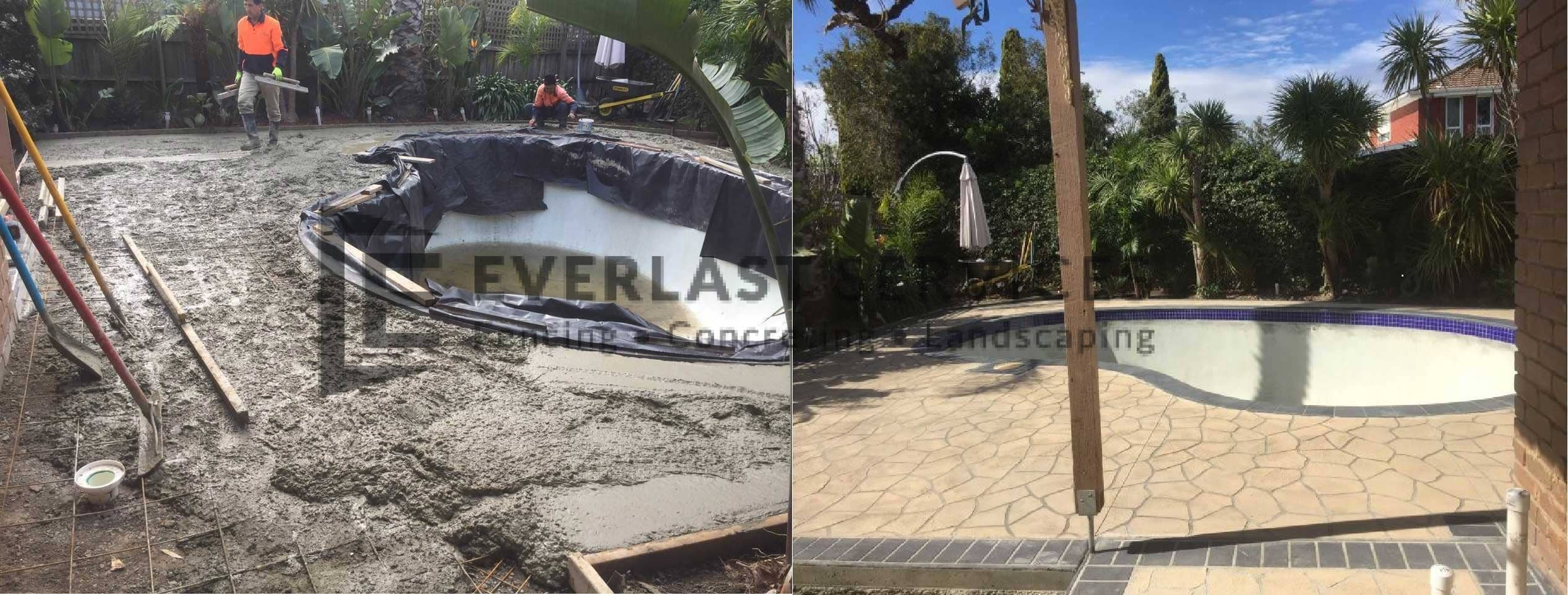 STE6 - Bushrock Stencil Concrete around Pool Before and After