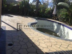 STE8 - Bush Rock Stencil Concrete around Pool