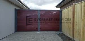 Jarrah Aluminium Slats Double Gate