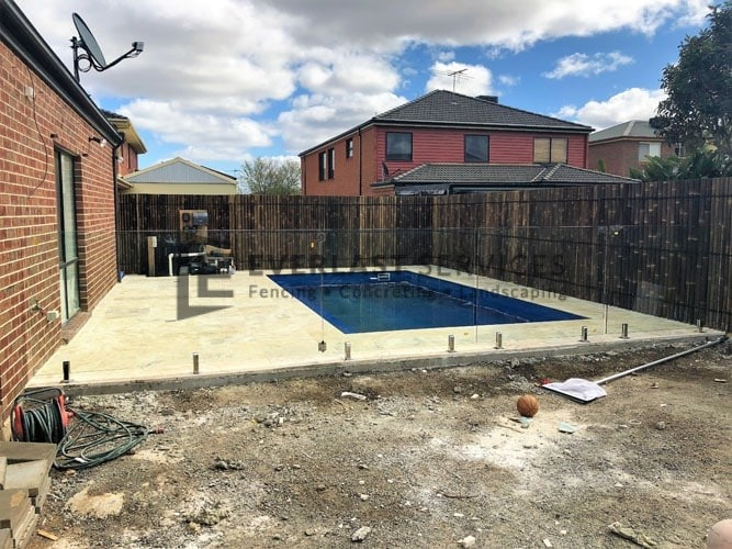 Glass Fencing + Travertine Paving and Coping