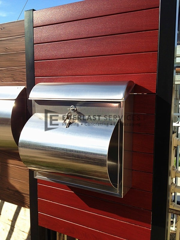FS1 - Jarrah Slats with Stainless Steel Mailbox
