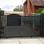 SG18 - Steel Vertical Slats + Criss Cross Sliding Gate - Melbourne