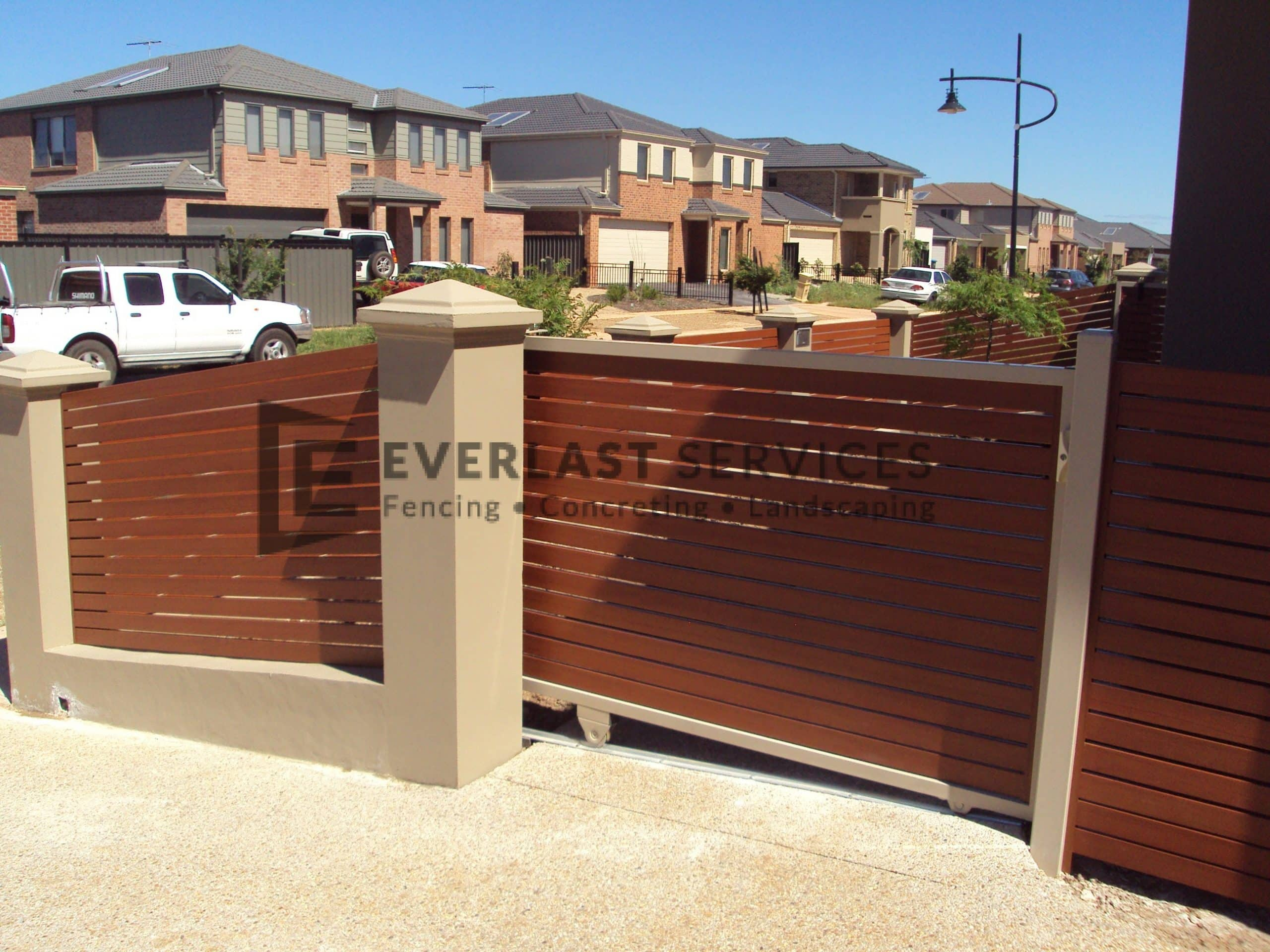 SG19 - Horizontal Wood Look-Aluminium Slats Angled Sliding Gate - Melbourne