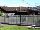 SF21 – Black Post + Pearl White Steel Picket Fencing – Werribee