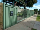 SF3 – Green Oxley Ring Steel Fencing With Mailbox Side View