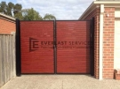 DG7 – Black Post + Frame with Jarrah Slats Double Gate – Hoppers Crossing