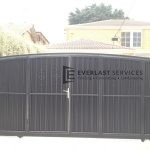 SG9 - Mini Orb Cladded Sliding Gate with Inbuilt Single Gate Back View