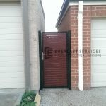 SS9 - Black Post + Frame with Jarrah Slats Single Gate - Point Cook