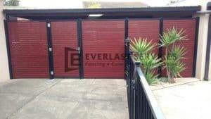 A94 - Black Post + Frame with Jarrash Slats Single Gate and 4 x Fencing Panels
