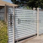 A66 - Beige Post + Frame with Surfmist Horizontal Slats Sliding Gate